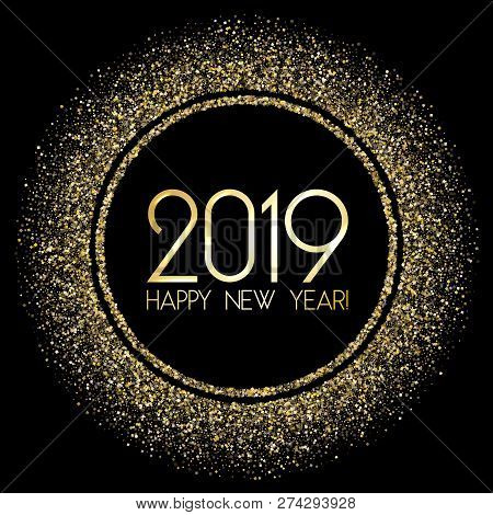 Glossy 2019 Happy New Year Card With Gold Confetti. 2019 Holiday Card, Banner Or Party Poster Design