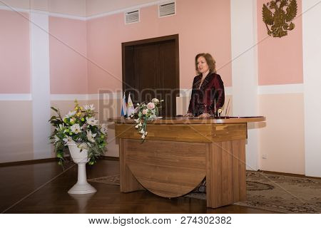 Kirov, Russia - June 15, 2018: Registry Office Of Marriage And Female Manager Of The Registrars Offi