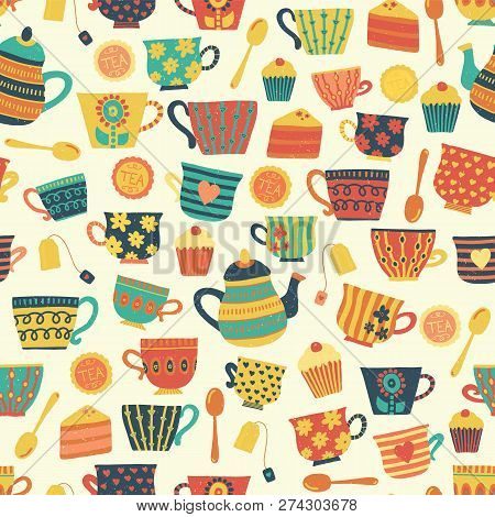 Seamless Retro Tea Cup Vector Pattern Background Beige. Distressed Vintage Look. Hand Drawn Tea Mugs