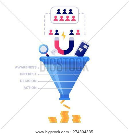 Funnel Sales Concept. Marketing Infographic, Sale Conversion And Lead Sales Pipeline Isolated Vector