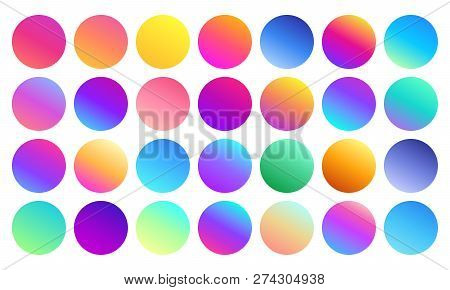 Vivid Gradient Spheres. Minimalist Multicolor Circles, Abstract 80s Vibrant Colors And Modern Gradie