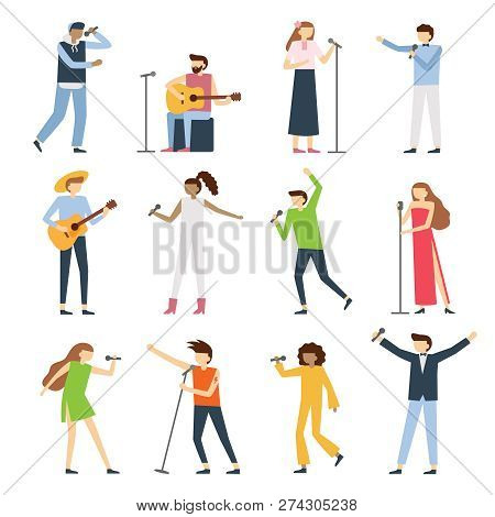 Musician Singers People. Vocal Singer Artist, Singing Diva Opera With Mic And Musicians Sing Song Co