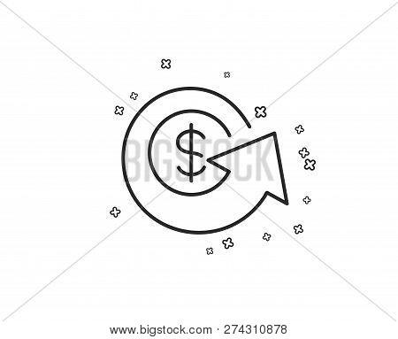 Dollar Exchange Line Icon. Money Refund Sign. Cashback Symbol. Geometric Shapes. Random Cross Elemen