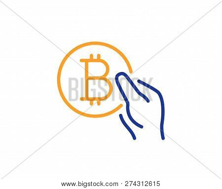 Bitcoin Pay Line Icon. Cryptocurrency Coin Sign. Crypto Money Symbol. Colorful Outline Concept. Blue