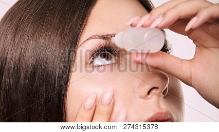 Woman Apply Eye Drops. Girl Glaucoma Treatment.