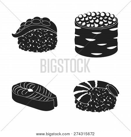 Vector Illustration Of Sushi And Fish Icon. Set Of Sushi And Cuisine Stock Symbol For Web.