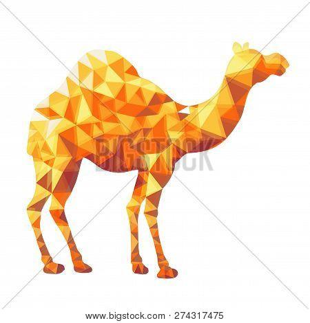 Arabian Camel Of Orange Triangles, Low Poly Style