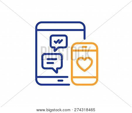 Social Media Messages Line Icon. Mobile Devices Sign. Smartphone Love Message Symbol. Colorful Outli
