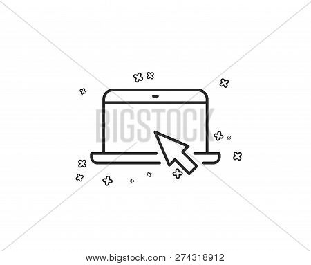 Laptop Computer Icon. Notebook With Mouse Cursor Sign. Portable Personal Computer Symbol. Geometric
