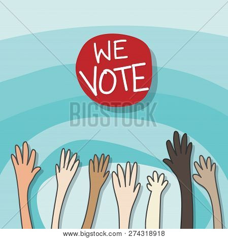 Voting Concept. Drawing Cartoon Of Raising Hands For Participation, Vote Isolated On Gradient Blue B