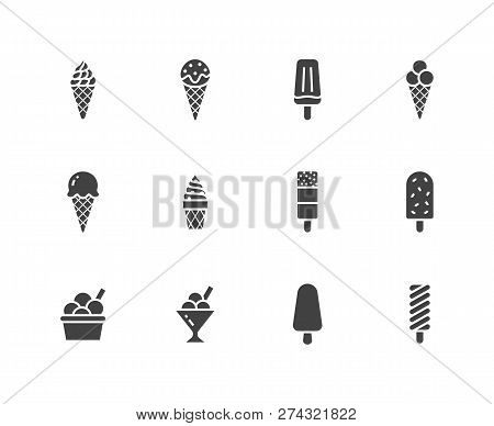 Ice Cream Flat Glyph Icons Set. Waffle Cone, Ice Lolly, Frozen Juice, Popsicle, Sorbet In Bowl Vecto