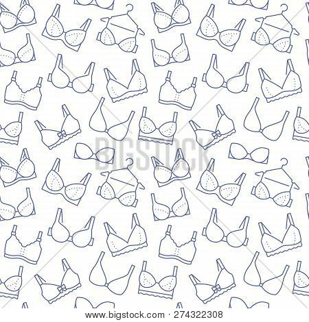 Lingerie Seamless Pattern With Flat Line Icons Of Bra Types. Woman Underwear Background, Vector Illu
