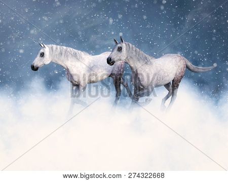3d Rendering Of Two Wild White Horses Running In The Winter Surrounded By Magical Snow.