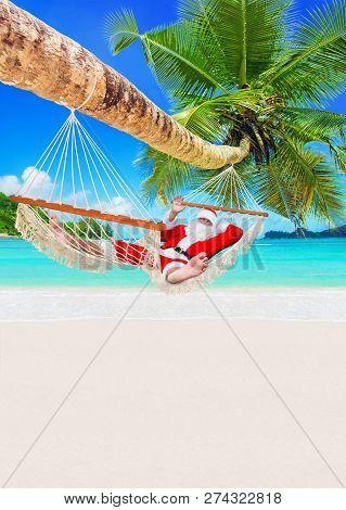 Santa Claus Sunbathe In White Cozy Hammock In Shadow Of Coconut Palm Tree At Sandy Ocean Island Beac
