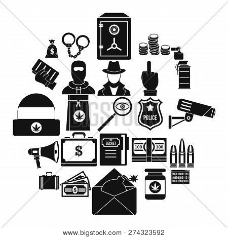 Criminal Offence Icons Set. Simple Set Of 25 Criminal Offence Icons For Web Isolated On White Backgr