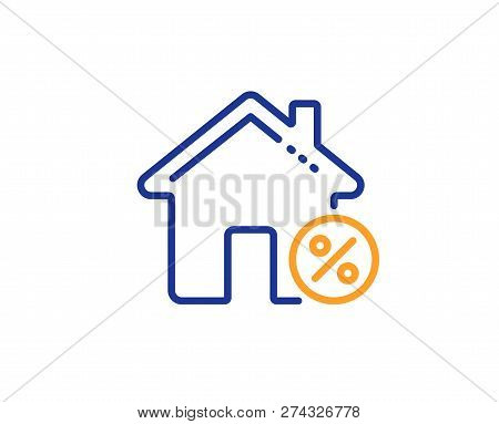 Loan House Percent Line Icon. Discount Sign. Credit Percentage Symbol. Colorful Outline Concept. Blu