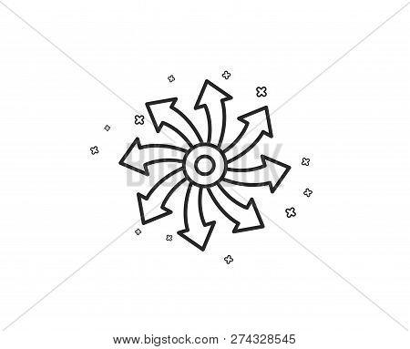 Versatile line icon. Multifunction sign. Geometric shapes. Random cross elements. Linear Versatile icon design. Vector poster
