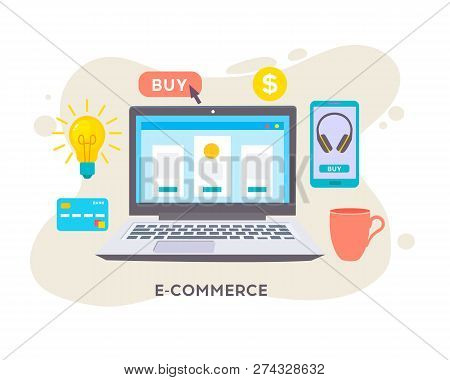 E-commerse Online Store. E-commerce, Strategy Flat Vector