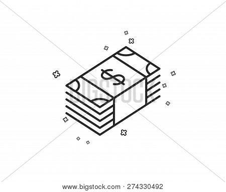 Cash Money Line Icon. Banking Currency Sign. Dollar Or Usd Symbol. Geometric Shapes. Random Cross El