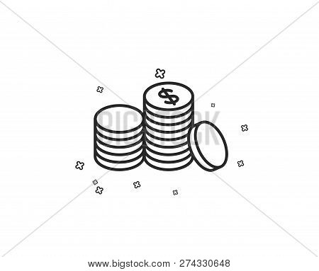Coins Money Line Icon. Banking Currency Sign. Cash Symbol. Geometric Shapes. Random Cross Elements.