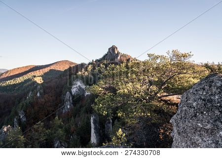 Sulovske Skaly Mountains In Slovakia With Rocks, Colorful Forest And Clear Sky During Autumn Morning