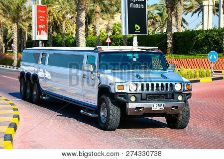 Dubai, Uae - November 15, 2018: White Limousine Hummer H2 In The City Street.