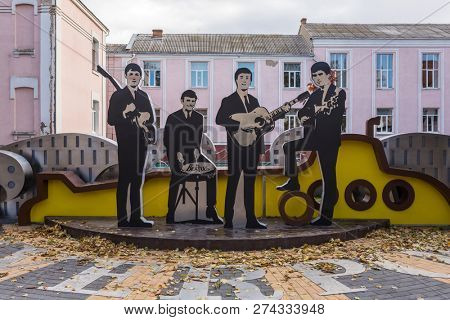 Vinnitsya, Ukraine - October 13, 2017: The Beatles monument in Vinnitsya city center, Ukraine