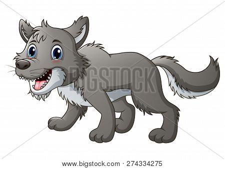 Vector Illustration Of Smiling Little Wolf Cartoon