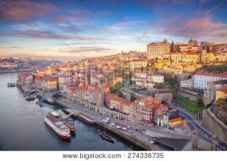 Porto, Portugal. Aerial Cityscape Image Of Porto, Portugal During Sunrise.