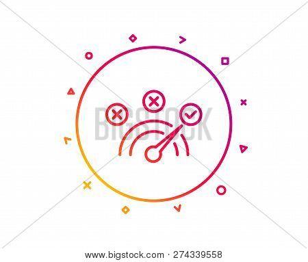 Correct Answer Line Icon. Speedometer Concept Sign. Check Symbol. Gradient Pattern Line Button. Corr