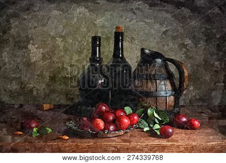 Jug Of Young Wine, Plums. Rustic Still-life. Painting Wet Watercolor On Paper. Naive Art. Abstract A