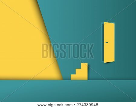 Business Challenge And Obstacle Vector Concept With Door On The Wall And Stairs In Wrong Place. Symb