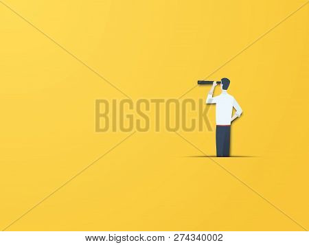 Business Vision Vector Concept With Businessman With Telescope. Modern Paper Cutout Style. Symbol Of