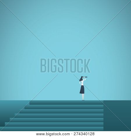 Buisnesswoman Looking Up Career Steps Vector Concept. Symbol Of Ambition, Motivation, Success In Car