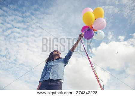 Freedom Hand,let It Go And Release Concept.birthday Balloon Holding By Happy Beautiful Women In Summ