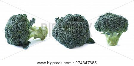Broccoli On White Background. Vegetables With Copy Space For Text. Broccoli Isolated On A White Back
