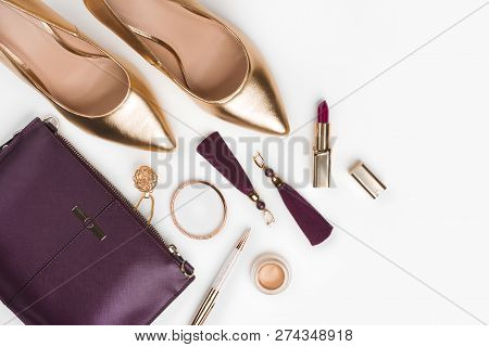 Women Set Of Fashion Accessories In Golden And Purple Color