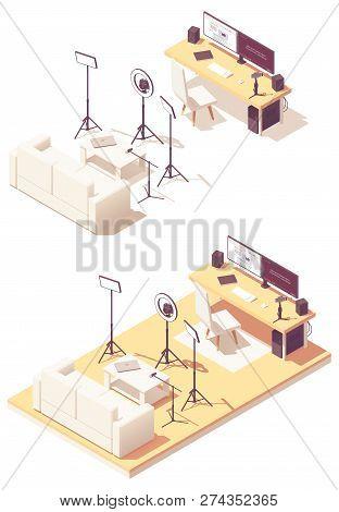 Vlogger Or Video Blogger Studio Equipment. Vector Isometric Room Cross-section Desk, Desktop Pc, Dsl