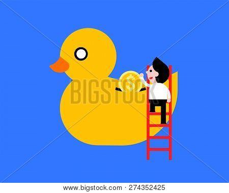 Businessman On Ladder Saving Money In Ducky Bank, Vector Illustration