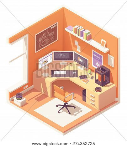 3d Artist Or Cg Artist Home Office Or Studio Workspace. Vector Isometric Room Cross-section With Des