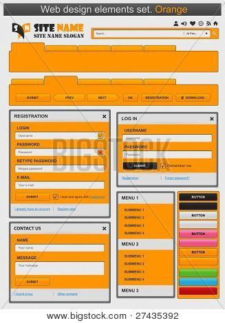 Web design elements set orange. Vector illustration