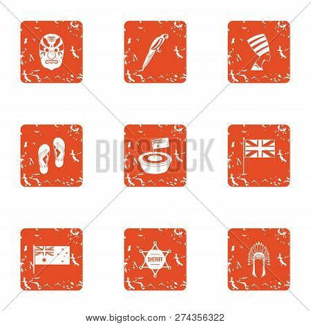 Conquest Of America Icons Set. Grunge Set Of 9 Conquest Of America Icons For Web Isolated On White B
