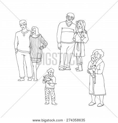 Vector Illustration Set Of Happy Family Members In Warm Winter Home Clothes Hugging.
