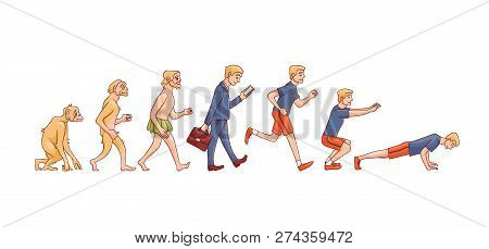 Vector Illustration Of Human Evolution From Ape To Man.