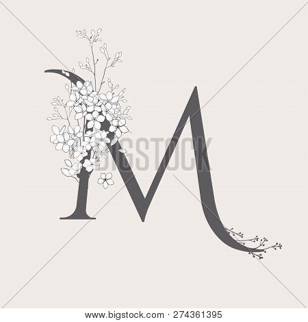 Vector Blooming Floral Initial M Monogram And Logo