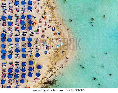 Amazing Aerial View From Above Over Nissi Beach In Cyprus. Nissi Beach At High Tide. Tourists Relax
