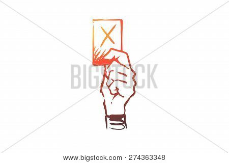 Penalty, Judge, Punishment, Law, Symbol Concept. Hand Drawn Card As Symbol Of Penalty Concept Sketch