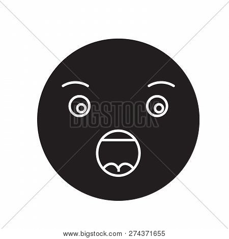 Anguished Emoji Black Vector Concept Icon. Anguished Emoji Flat Illustration, Sign