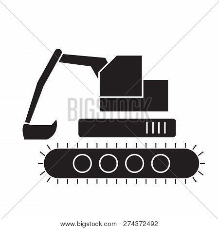 Backhoe Loader Black Vector Concept Icon. Backhoe Loader Flat Illustration, Sign