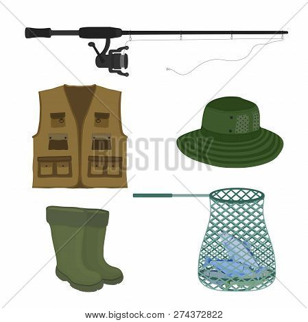 Vector Cartoon Collection For Fishing. Fish-rod, Rubber Waterproof Boots, Sweep-net And Vest. Fisher